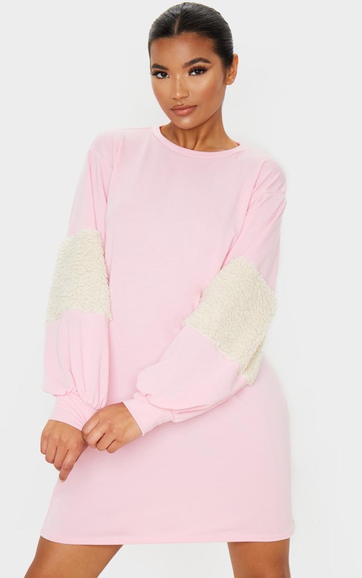 Baby Pink Borg Panel Oversized Sweater Dress 1