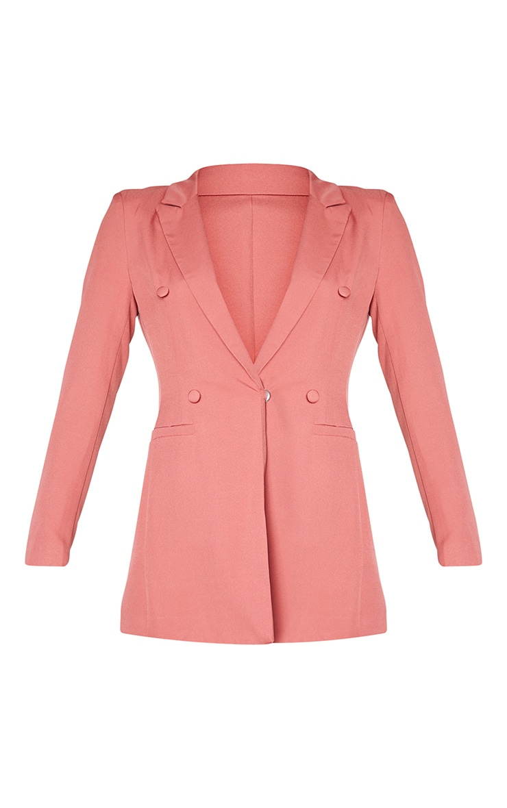 Deep Rose Double Breasted Woven Blazer 5