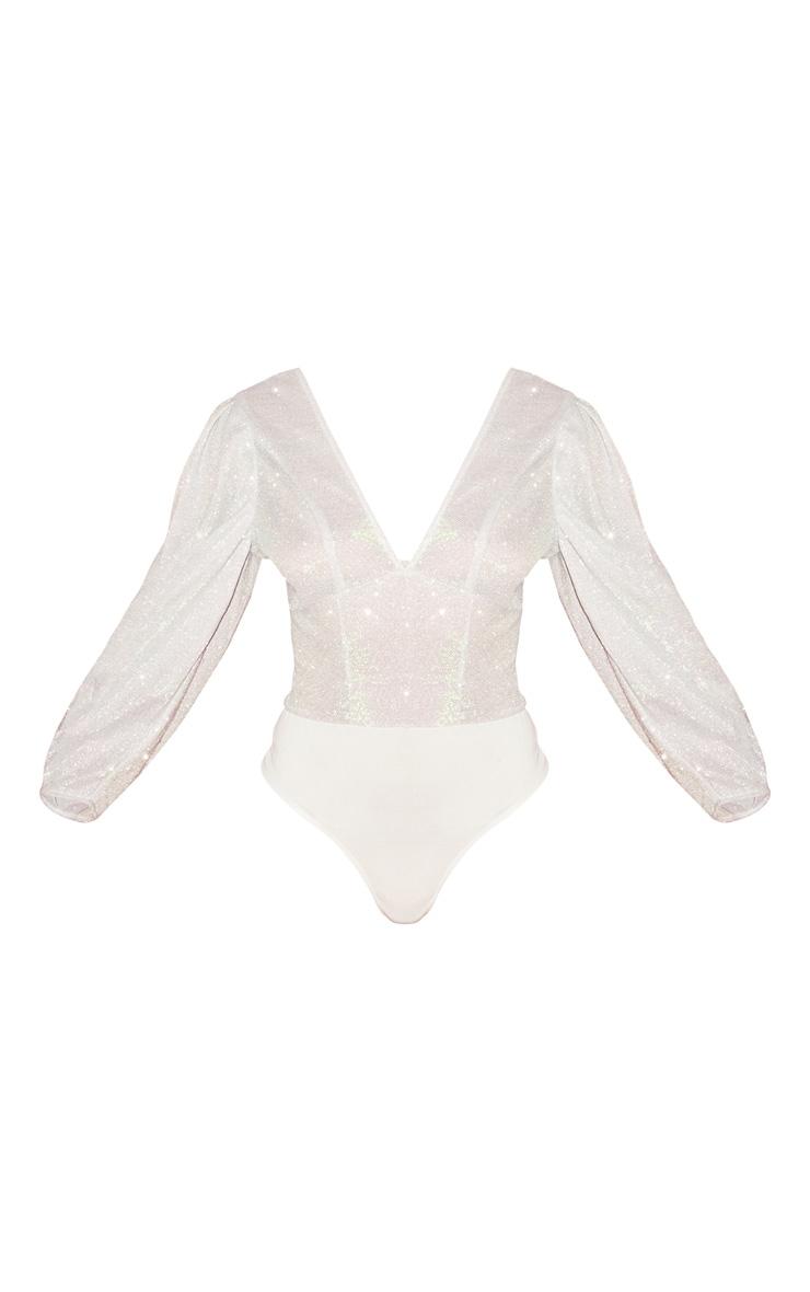 Silver Glitter Plunge Puff Sleeve Bodysuit 3