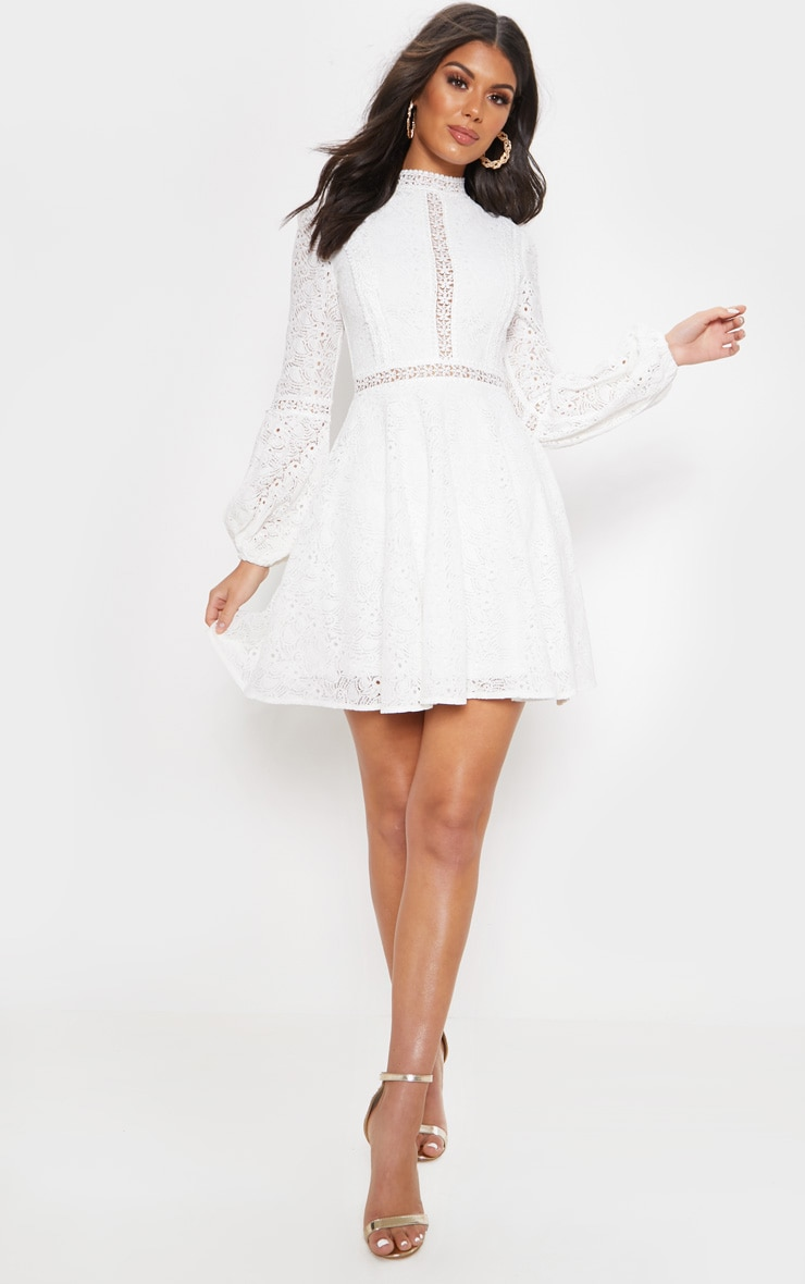 White Lace Long Sleeve Skater Dress 1