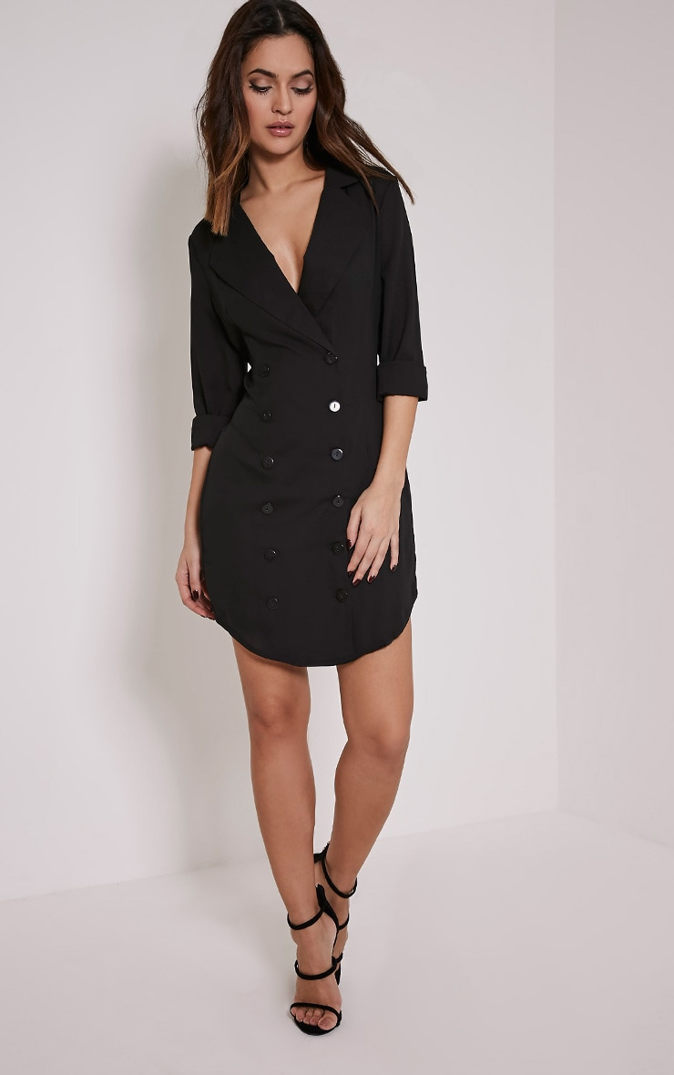 Lucah Black Double Breasted Blazer Dress 5