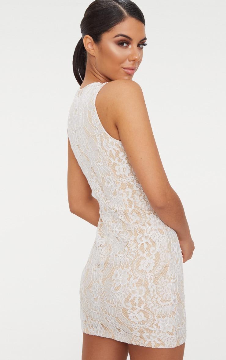 White Lace Cut Out Bodycon Dress 2