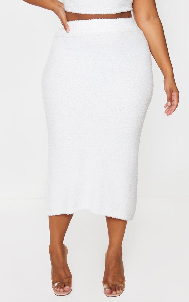 Plus Cream Fluffy Knit Midaxi Skirt 2