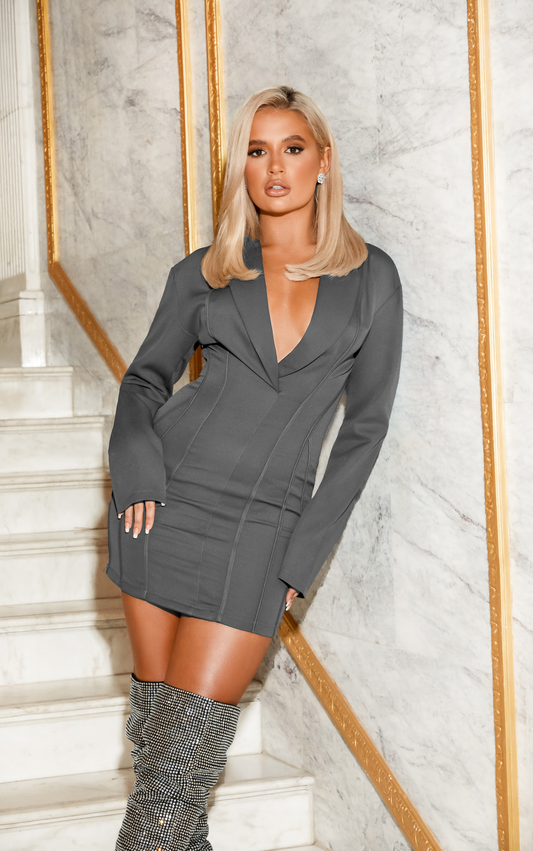 Grey Fitted Seam Blazer Dress 2