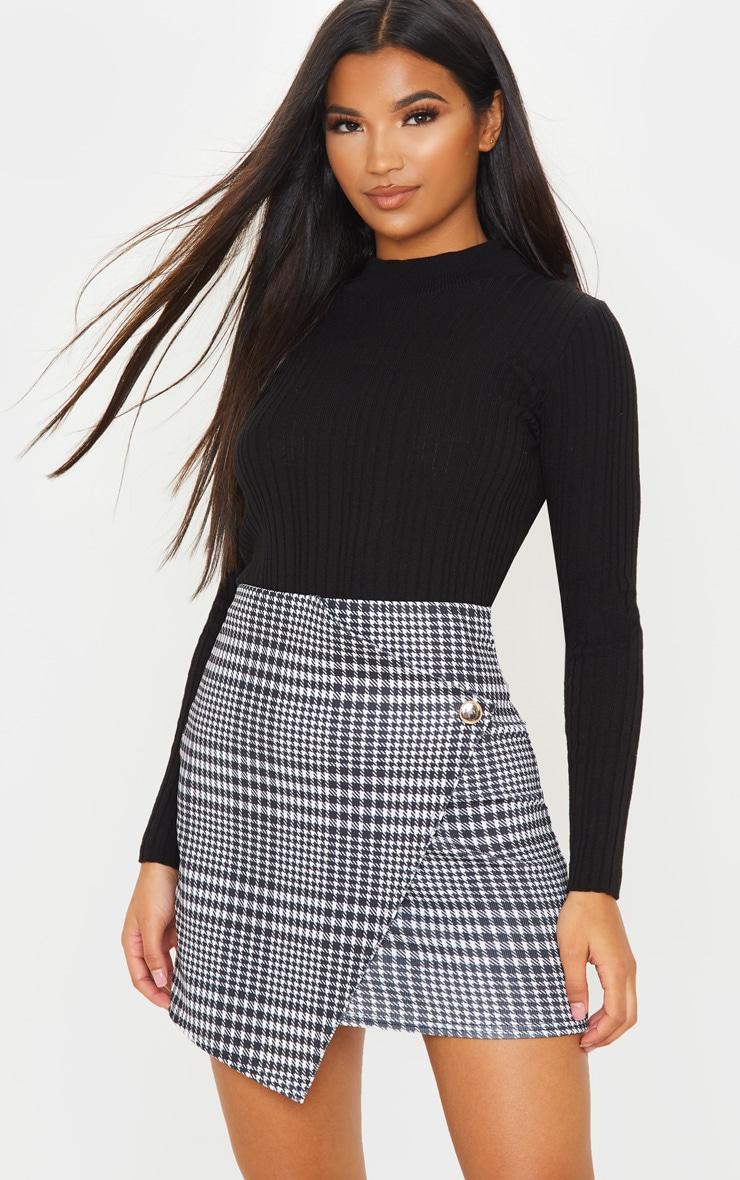 Monochrome Check Wrap Mini Skirt 5