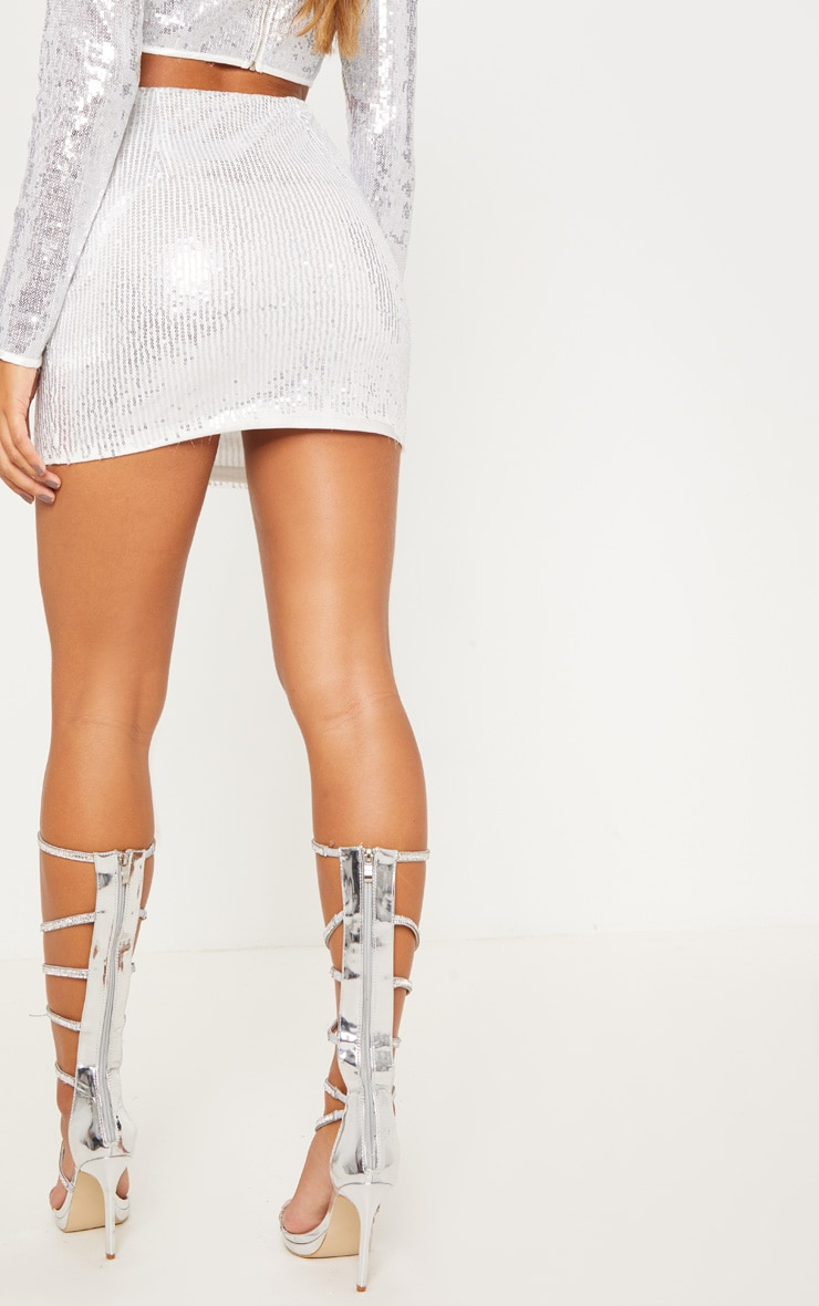 Silver Sequin Mini Skirt 5