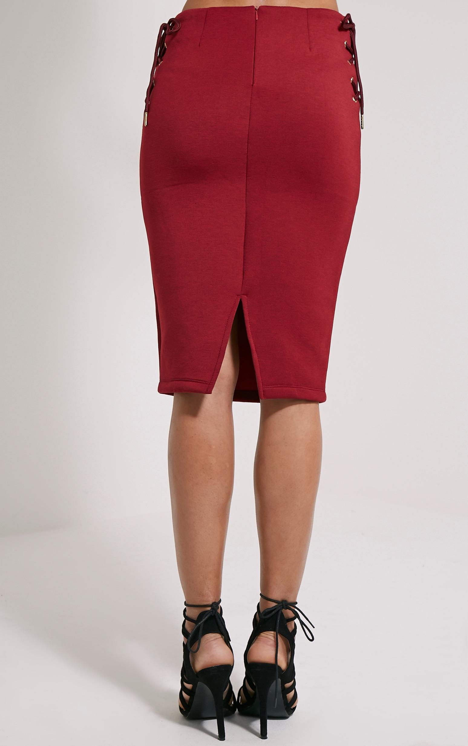 Malita Oxblood Lace Up Side Scuba Midi Skirt 4