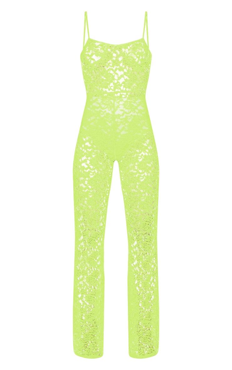 Lime Lace Straight Neck Jumpsuit 3