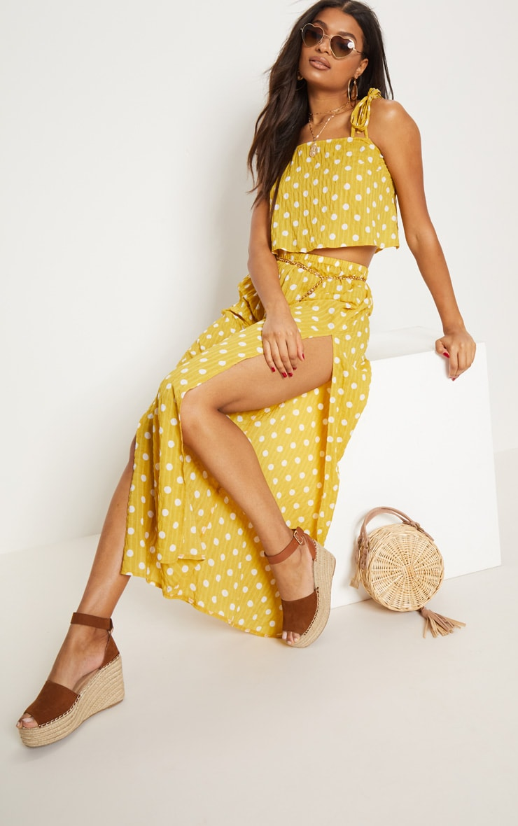 Mustard Cheesecloth Polka Dot Wide Leg Trousers  2
