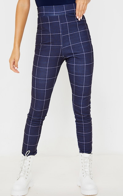Navy Check Print Skinny Trousers