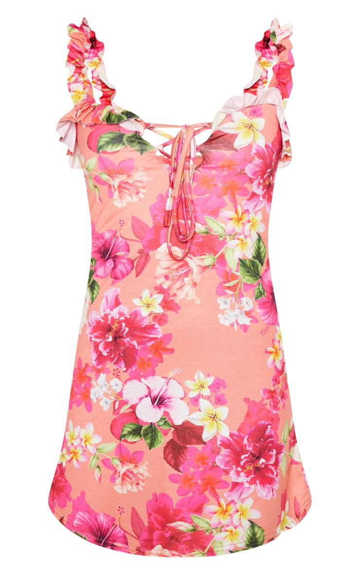 Pink Floral Print Frill Detail Shift Dress 3
