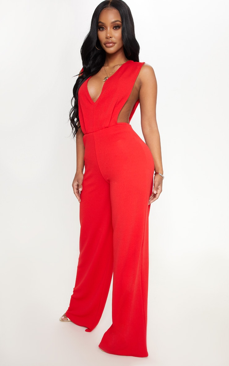 Shape Red Side Boob Wide Leg Jumpsuit 4