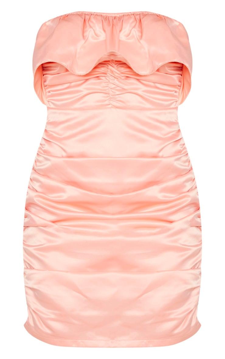 Peach Satin Ruched Bandeau Frill Bodycon Dress 5