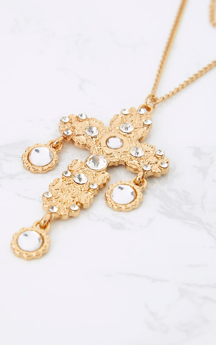 Gold Double Layer Statement Cross Necklace 3
