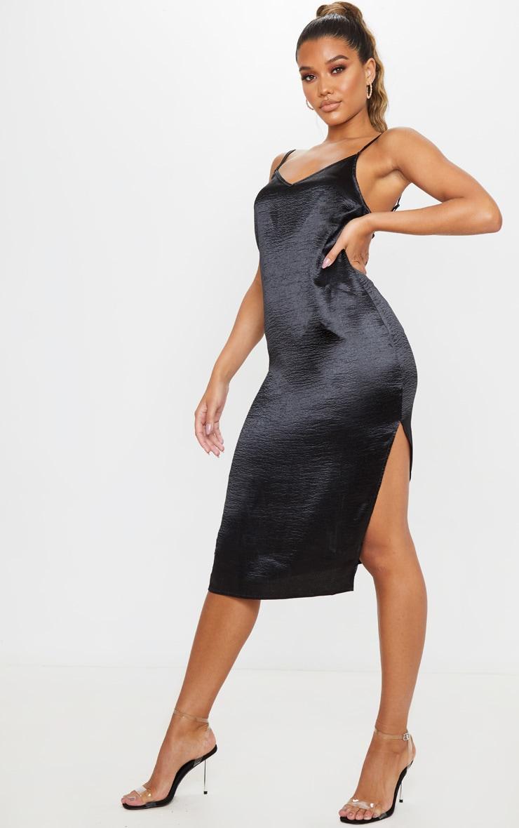 Black Hammered Satin Slip Midaxi Dress 1