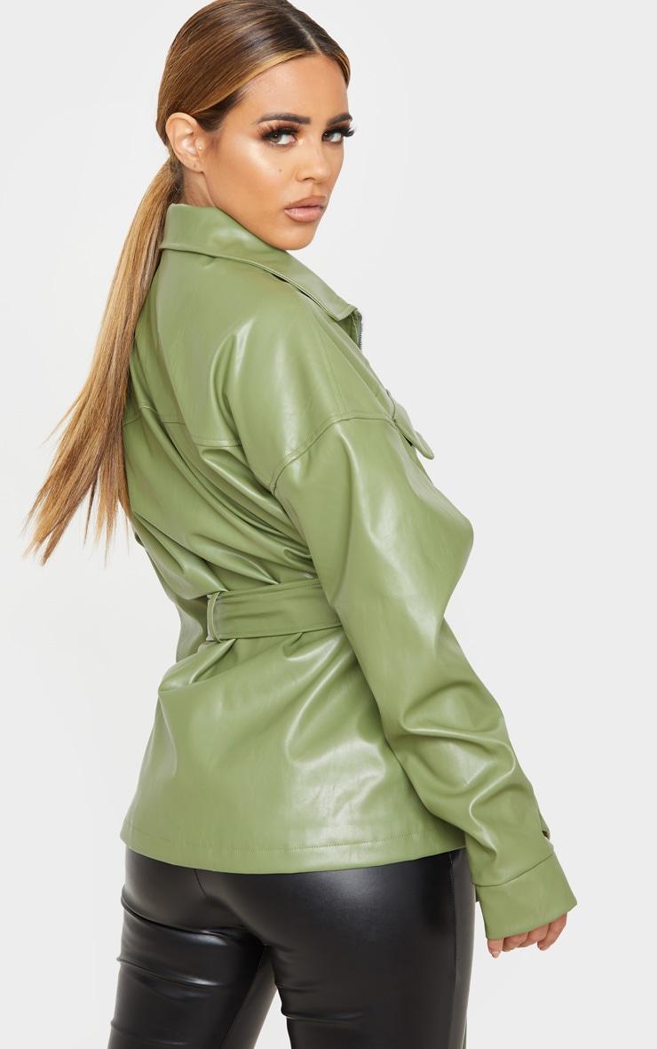 Petite Khaki Faux Leather Belt Detail Jacket 2