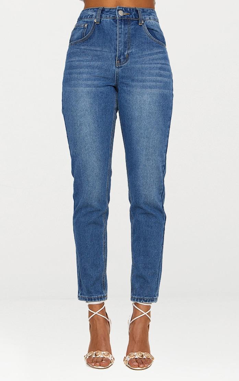 Mid Wash Bum Rip Straight Leg Jean 6