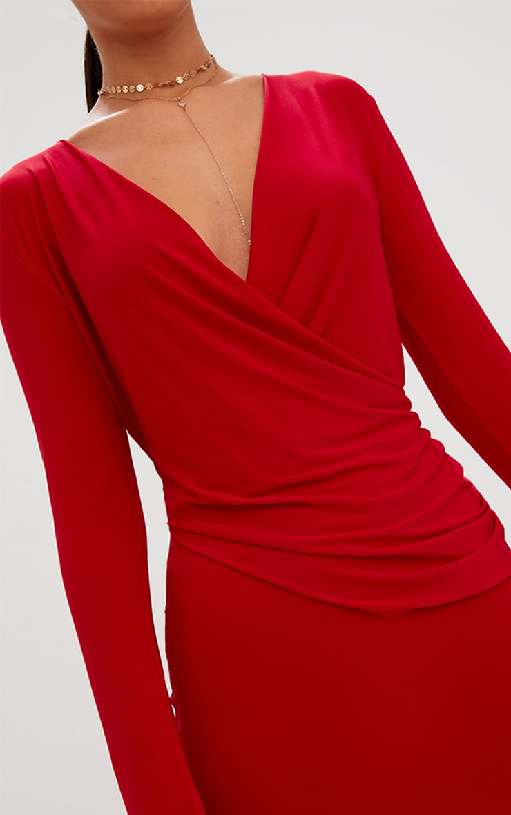 Red Slinky Ruched Wrap Over Bodycon Dress 5