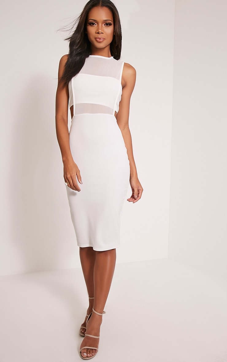 Lanelle White Mesh Detail Midi Dress 5