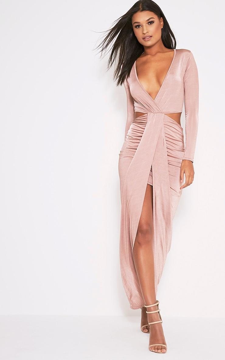 Bria Dusty Pink Wrap Front Drape Detail Maxi Dress 1