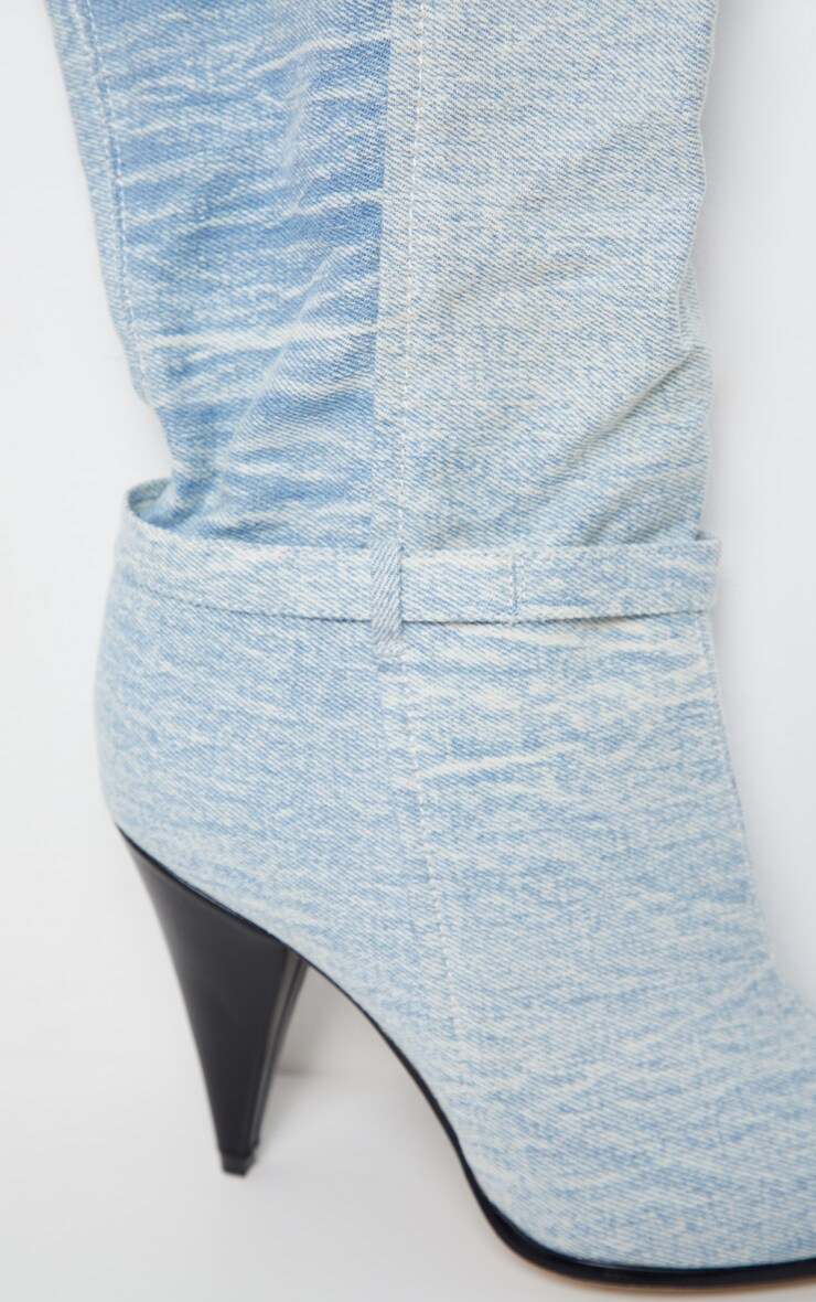 Denim Cone Heel Slouch Thigh Boot 6