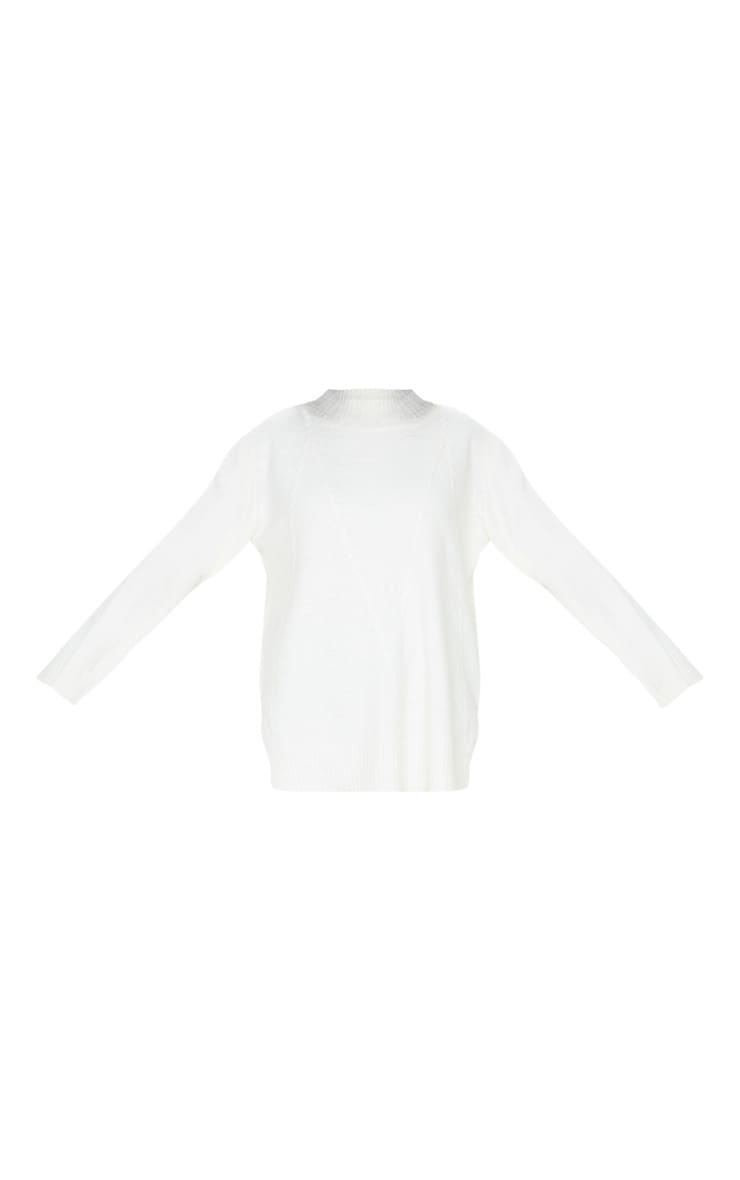 Cream High Neck Fluffy Knit Twist Detail Jumper 3