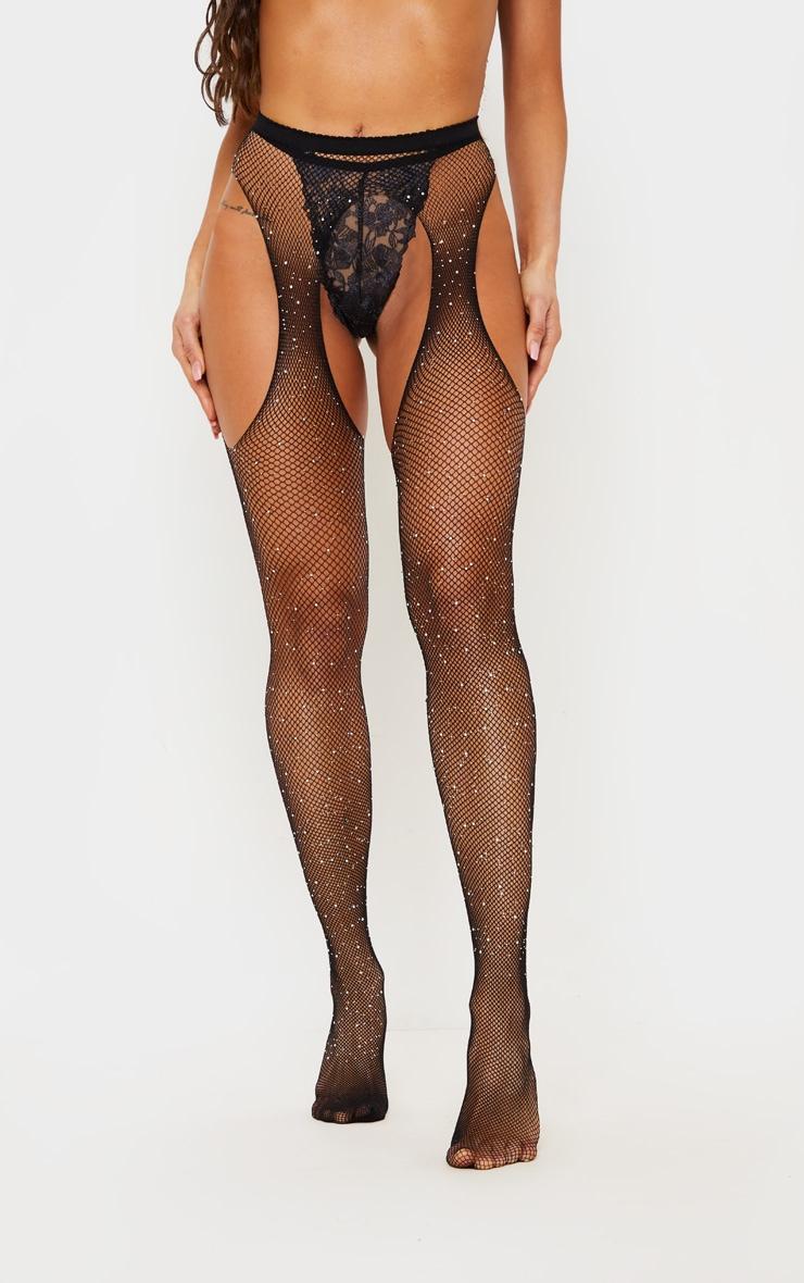 Black Diamante Fishnet Suspender Stockings 2