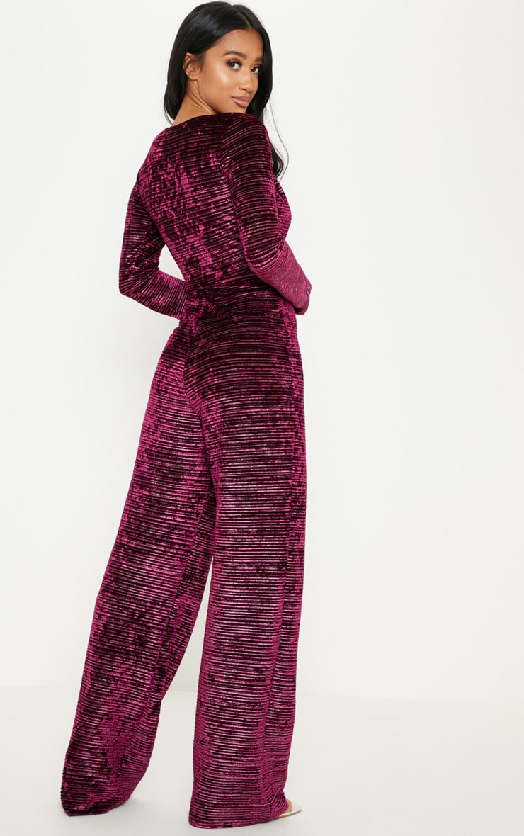 Petite Wine Ribbed Velvet Wide Leg Jumpsuit 3