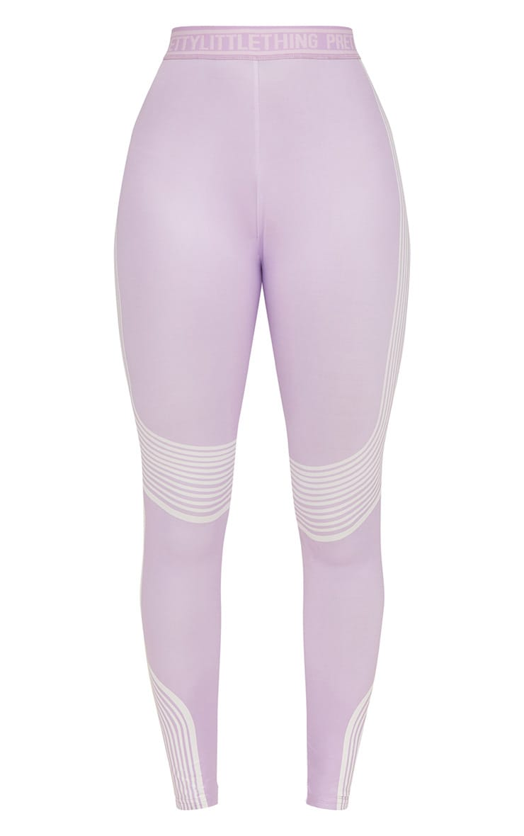 PRETTYLITTLETHING Lilac Contour Stripe Leggings 3