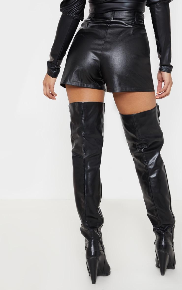Black Faux Leather Biker Short 4