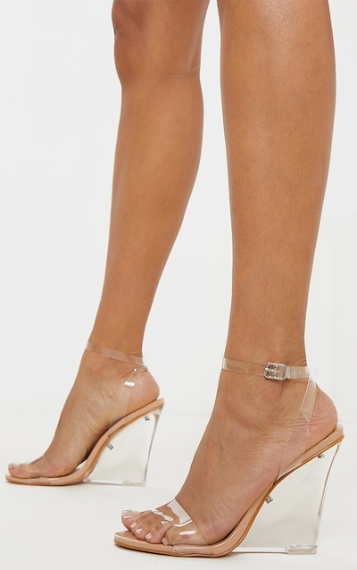 Nude Clear Wedge Strappy Sandal