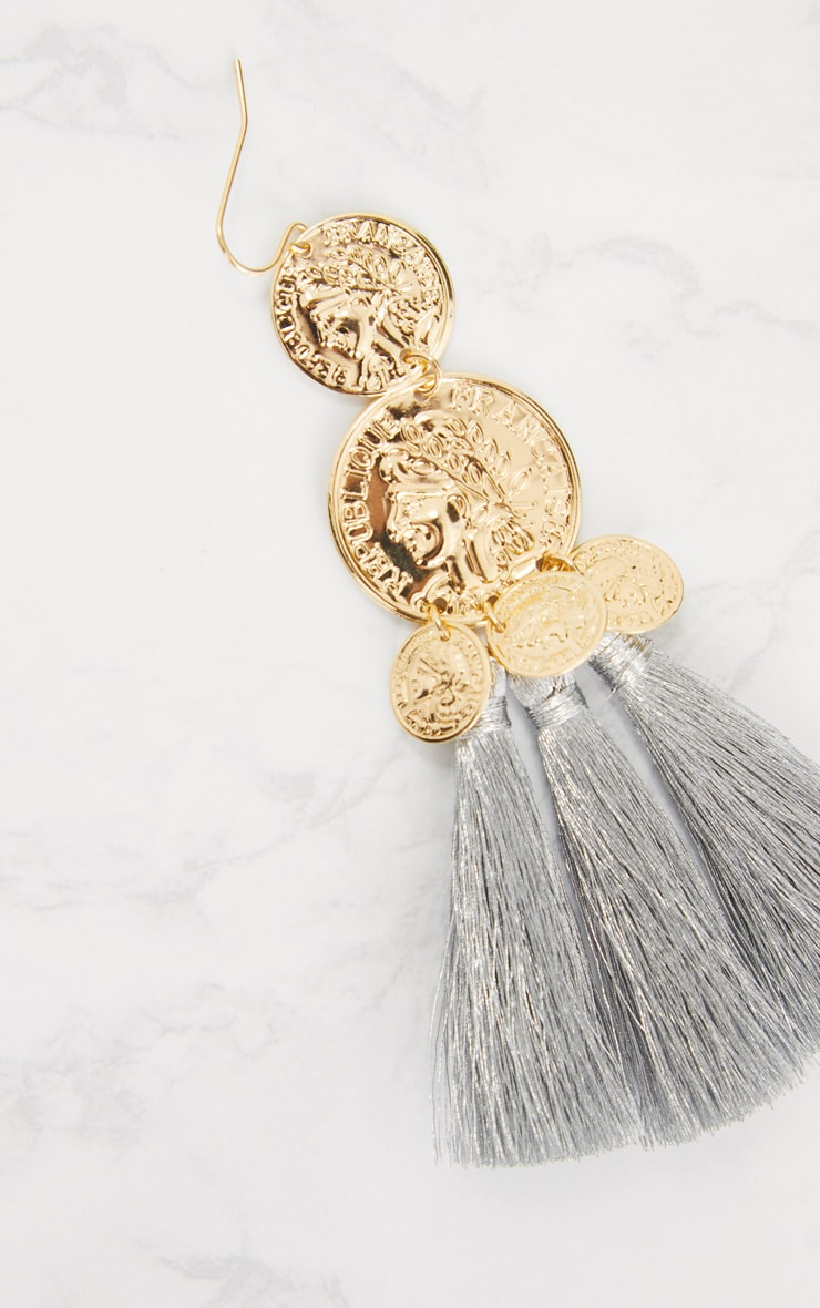 Gold Metallic Coin Drop Silver Tassel Earrings 4