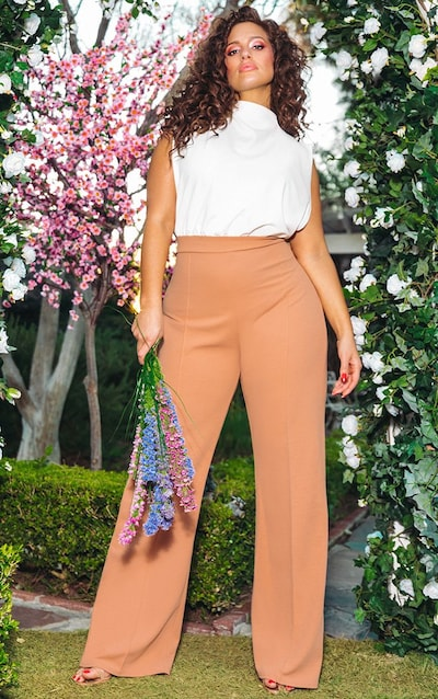 Nude High Neck Wide Leg Jumpsuit