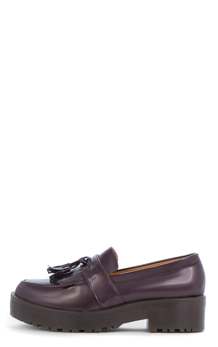 Charis Patent Burgundy Chunky Loafer 1