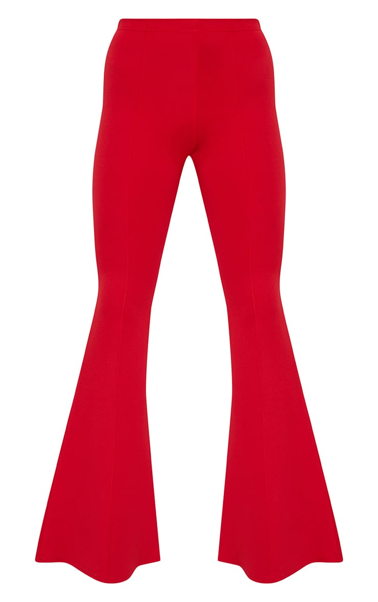 Petite Red High Waist Extreme Flare Trousers 3