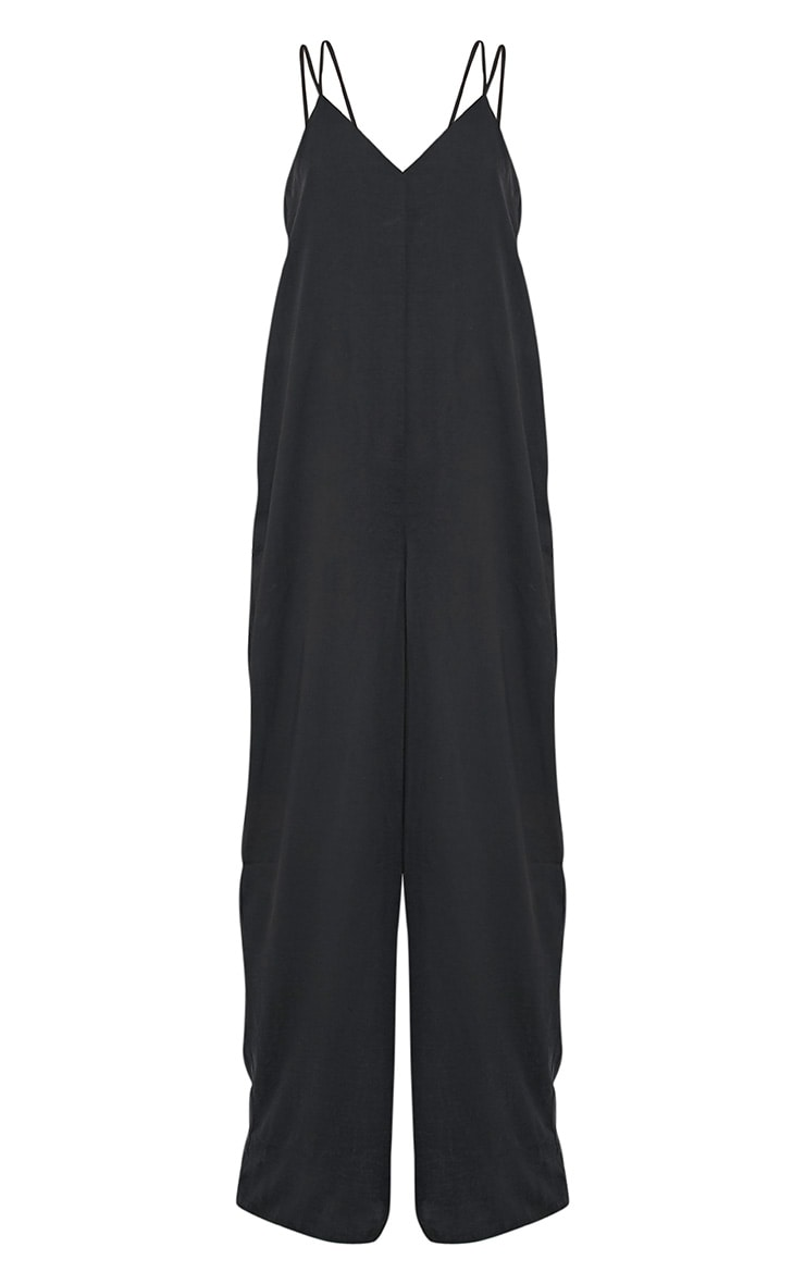 Elisabeth Black Oversized Satin Harness Wide Leg Jumpsuit 3