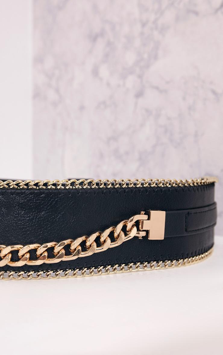 Kiona Black Chain Detail Waist Belt 6