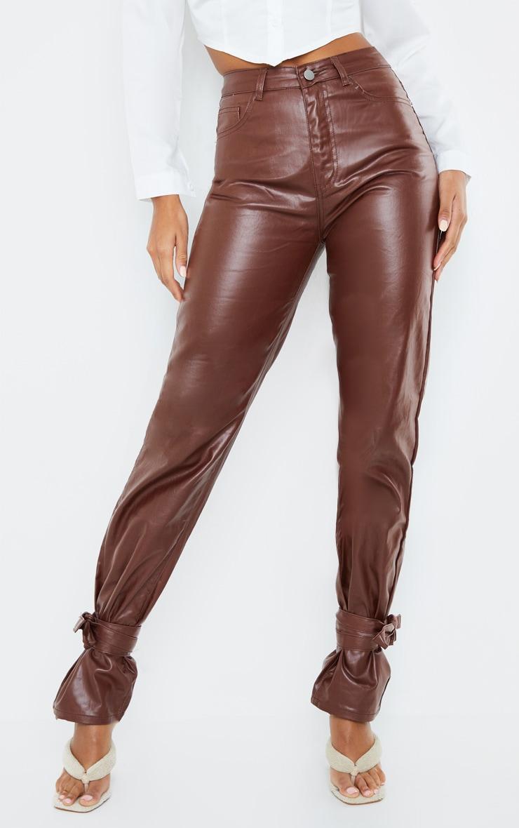 Chocolate Tied Hem Coated Straight leg Jean 2