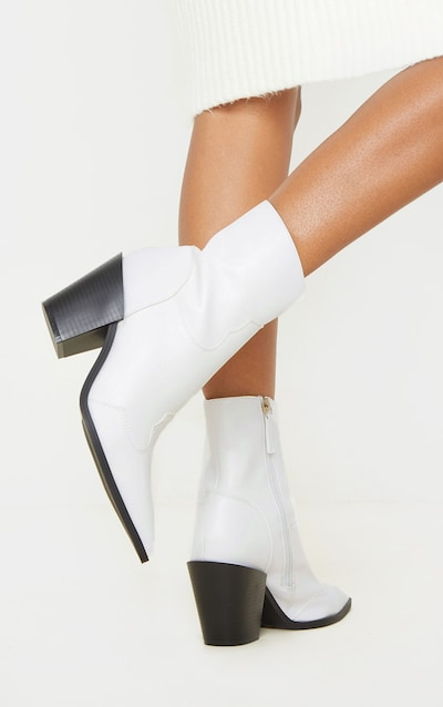 White Point Toe Western Heel Ankle Boot