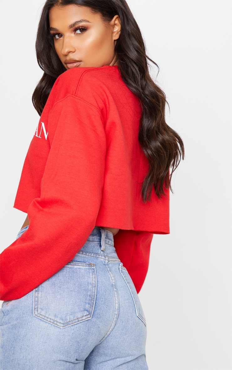 Red Only Santa Can Judge Me Cropped Sweatshirt 2