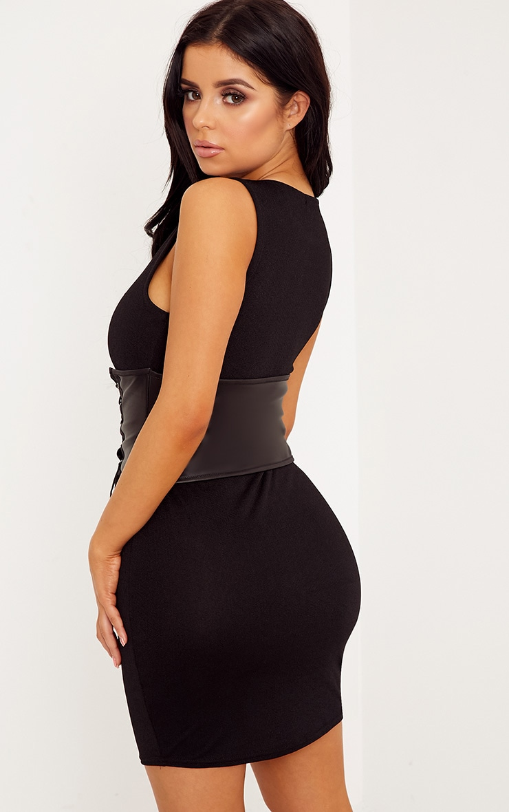 Shape Morgani Black Corset Belt Bodycon Dress 2