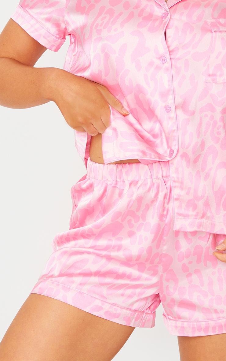 Bright Pink Leopard Print Short Satin PJ Set 4
