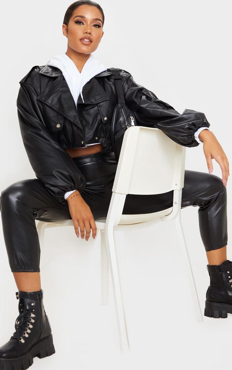 Black Faux Leather Crop Biker Jacket 3