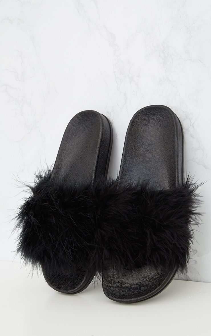 Black Feather Slides  1