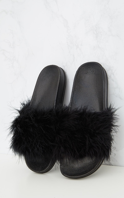 6e0243fc279 Black Feather Slides