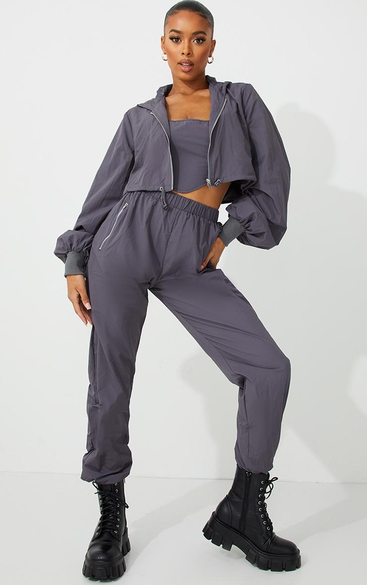Grey Oversized Zip Up Cropped Hooded Jacket 3