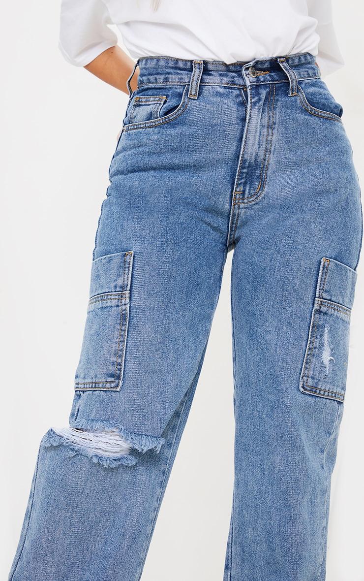 Petite Mid Blue Wide Leg Distressed Cargo Jeans 4