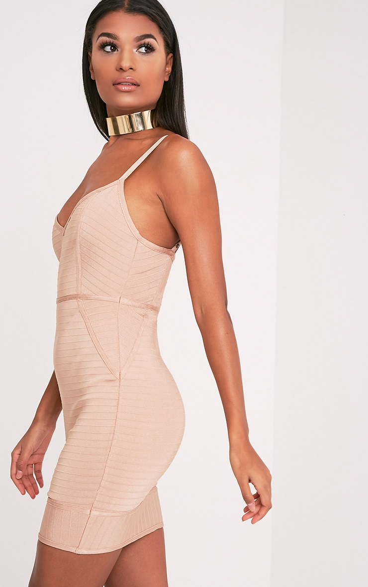 Emily Camel Strappy Bandage Bodycon Dress 4
