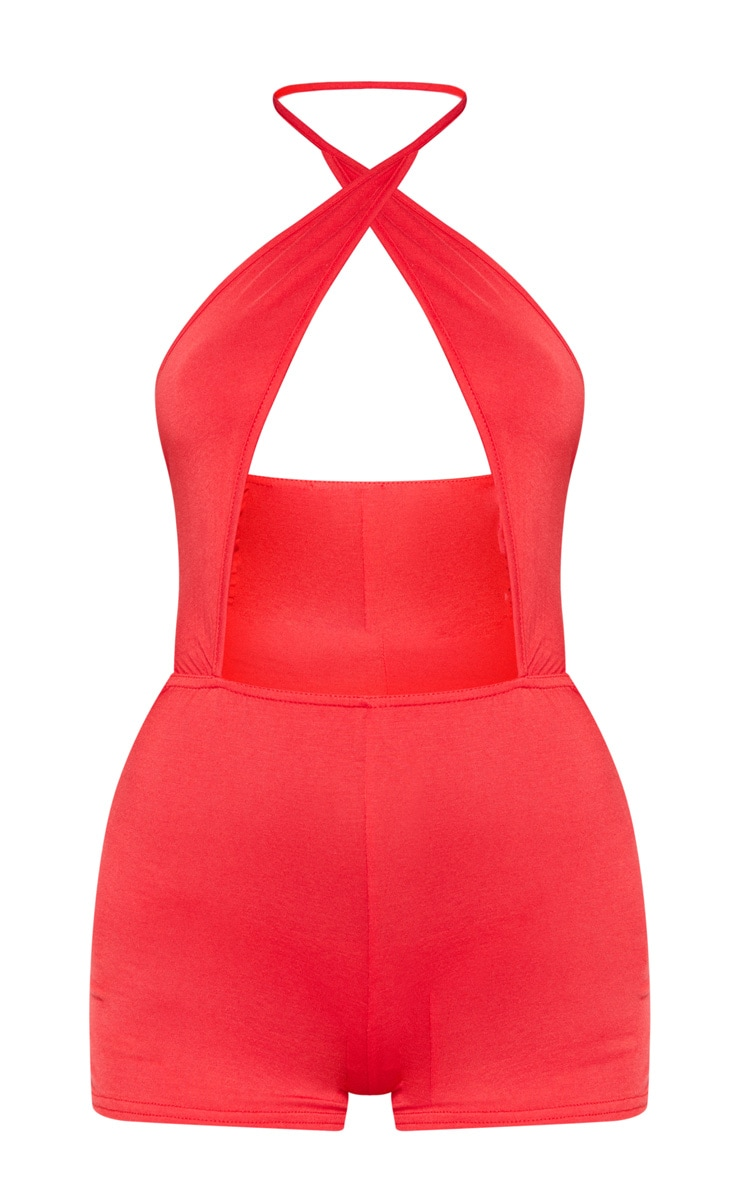 Red Cross Front Halterneck Romper 3