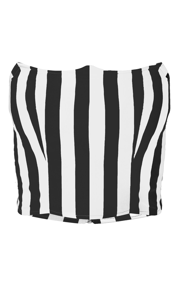 Black Stripe Wired Bandeau Crop Top 3